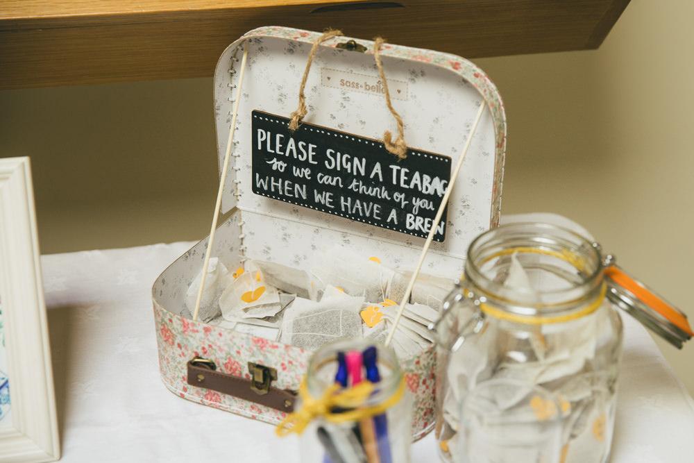 Tea Bag Guest Book Damerham Village Hall Wedding Lisa-Marie Halliday Photography