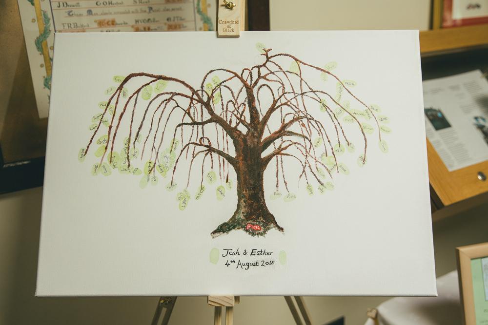 Finger Print Tree Guest Book Damerham Village Hall Wedding Lisa-Marie Halliday Photography