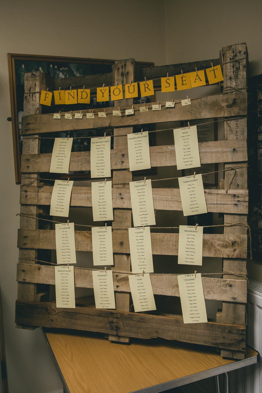 Seating Plan Table Chart Wooden Pallet Damerham Village Hall Wedding Lisa-Marie Halliday Photography
