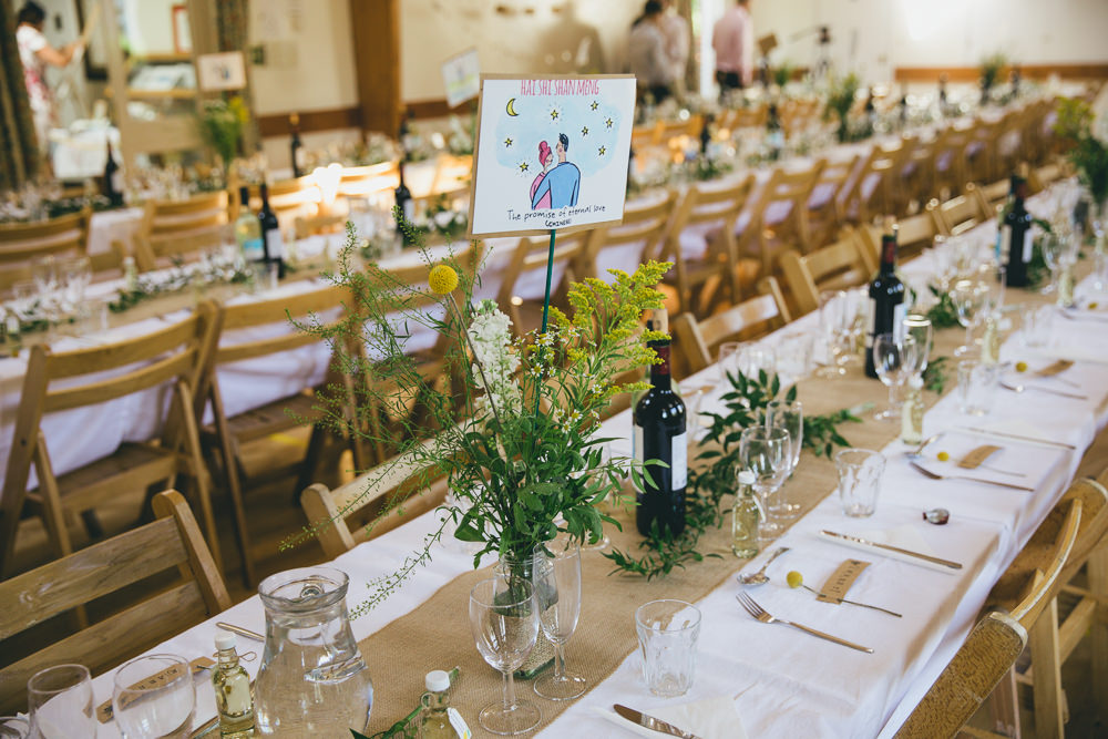 Long Tables Yellow Flowers Bottles Hessian Burlap Damerham Village Hall Wedding Lisa-Marie Halliday Photography