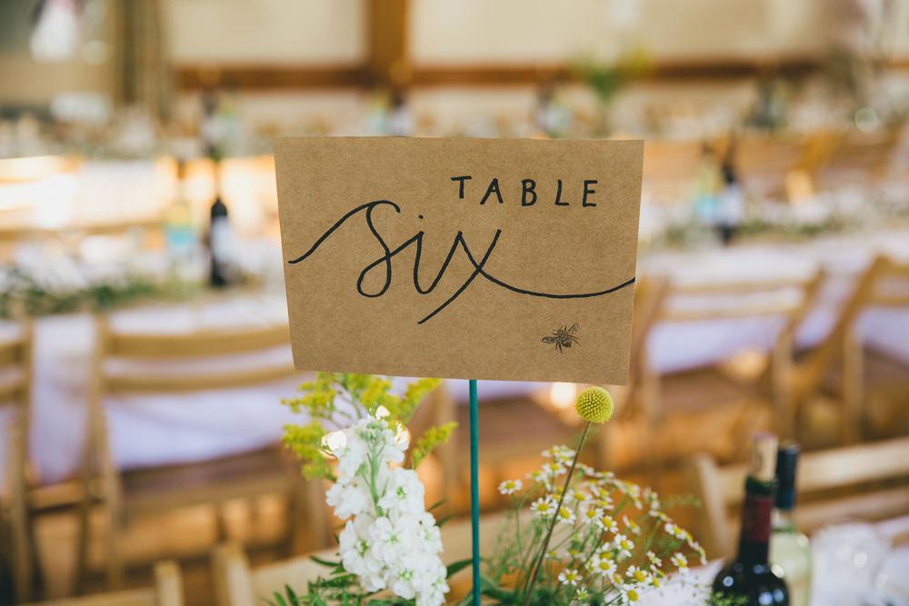 Calligraphy Table Number Damerham Village Hall Wedding Lisa-Marie Halliday Photography