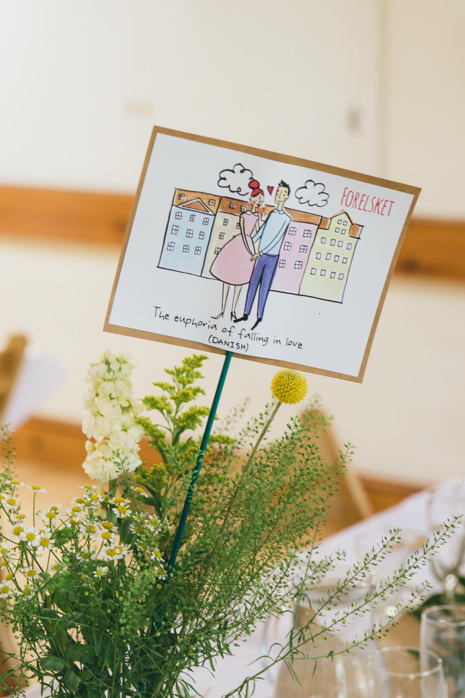 Illustrated Table Sign Damerham Village Hall Wedding Lisa-Marie Halliday Photography