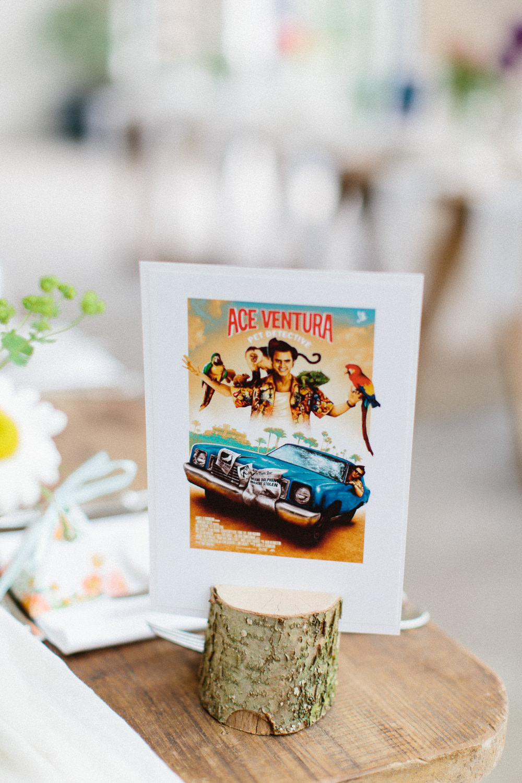 Ace Ventura Table Name Wood Slice Garden Ceremony Wedding Melissa Beattie Photography