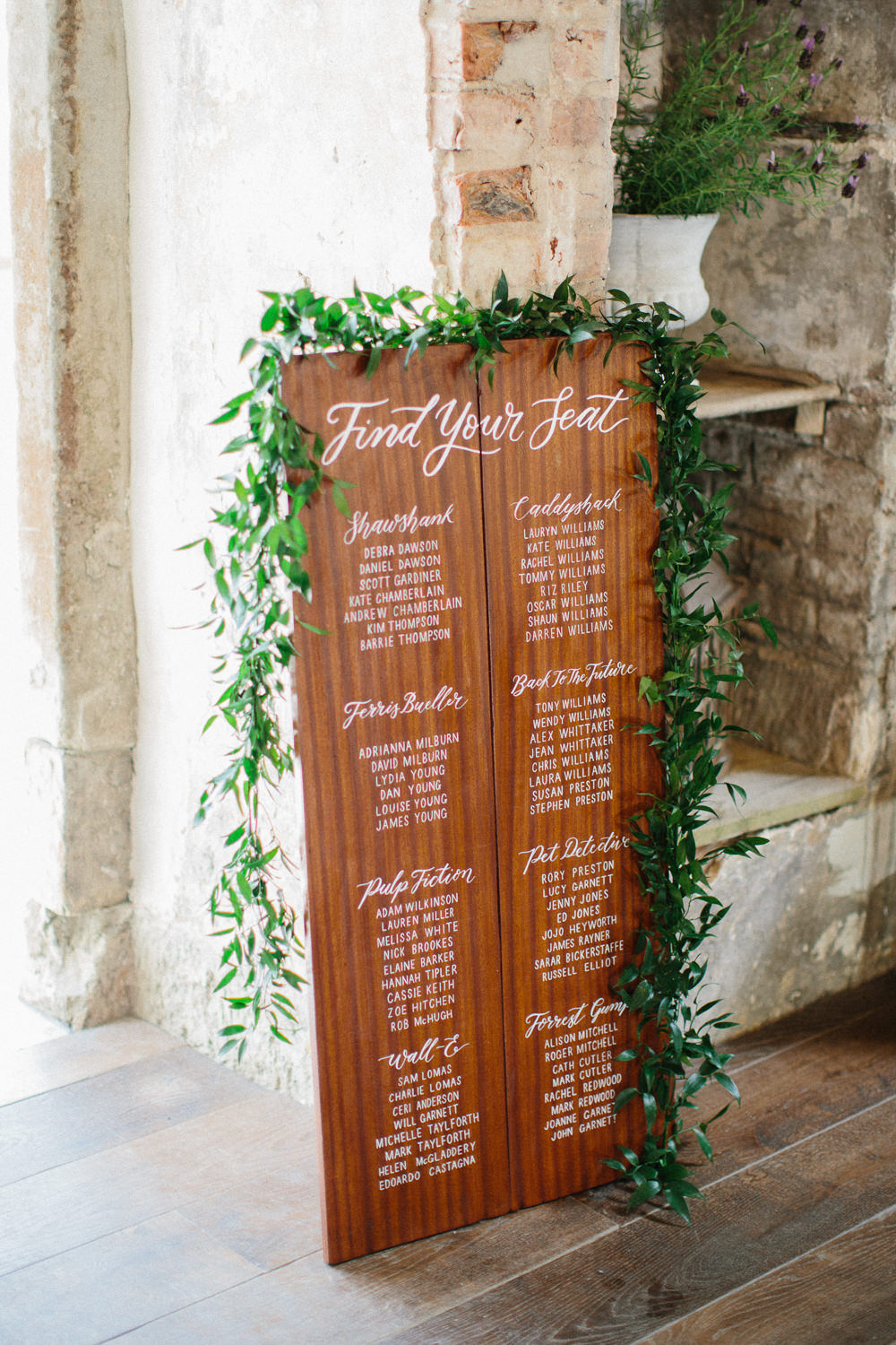 Wooden Table Plan Seating Chart Calligraphy Greenery Foliage Garden Ceremony Wedding Melissa Beattie Photography