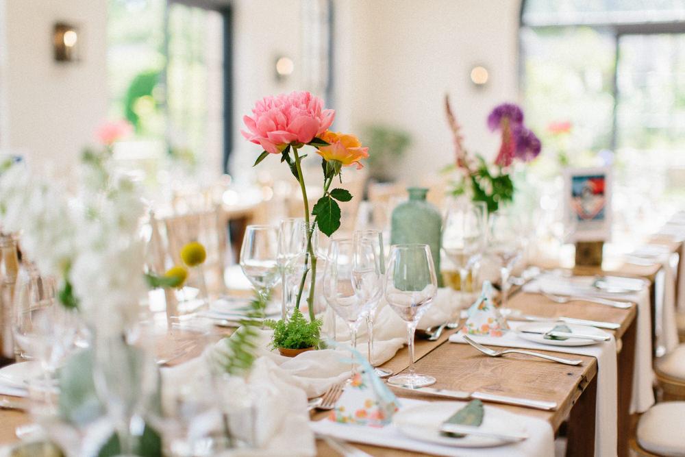 Table Centre Florals Flowers Peony Bottle Garden Ceremony Wedding Melissa Beattie Photography