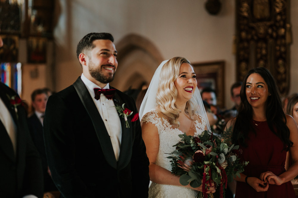 Bride Bridal Cap Sleeve Lace Overlay Dress Gown Veil Velvet Tuxedo Burgundy Bow Tie Groom Burgundy Bridesmaid Gaynes Park Wedding Kate Gray Photography