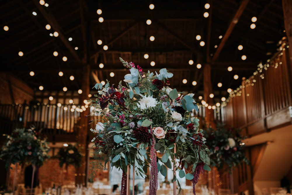 Floral Flower Plinth Eucalyptus Rose Dahlia Burgundy Festoon Lighting Gaynes Park Wedding Kate Gray Photography