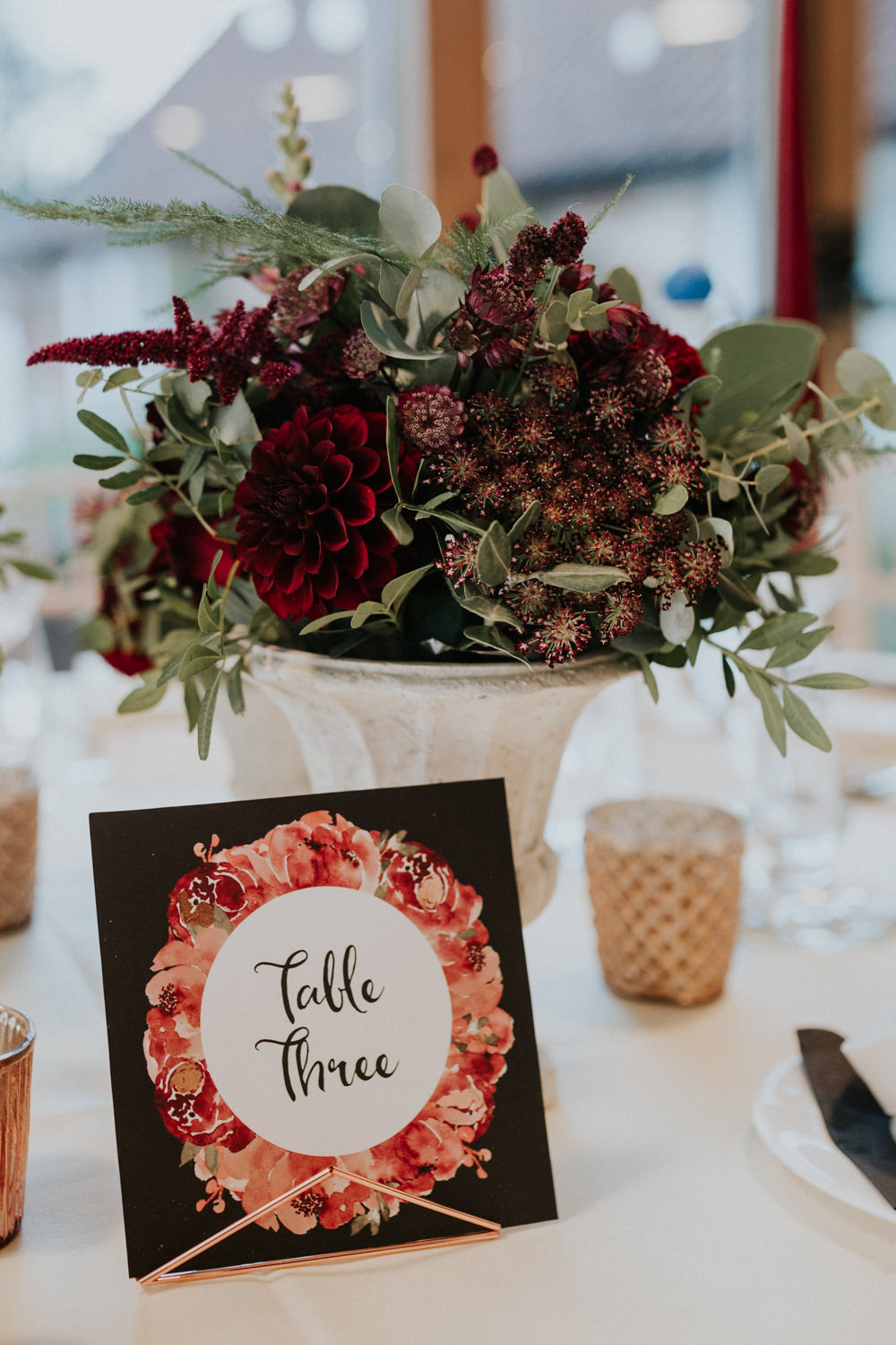 Table Number Illustrated Floral Calligraphy Dahlia Burgundy Flowers Gaynes Park Wedding Kate Gray Photography