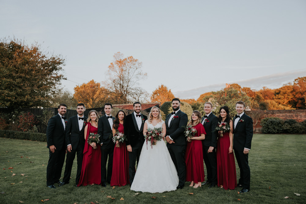 Bride Bridal Cap Sleeve Lace Overlay Dress Gown Veil Velvet Tuxedo Burgundy Bow Tie Groom Bridesmaids Gaynes Park Wedding Kate Gray Photography