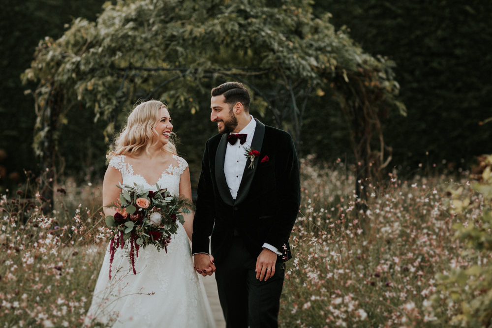 Bride Bridal Cap Sleeve Lace Overlay Dress Gown Velvet Tuxedo Burgundy Bow Tie Groom Bouquet Eucalyptus Dahlia Gaynes Park Wedding Kate Gray Photography