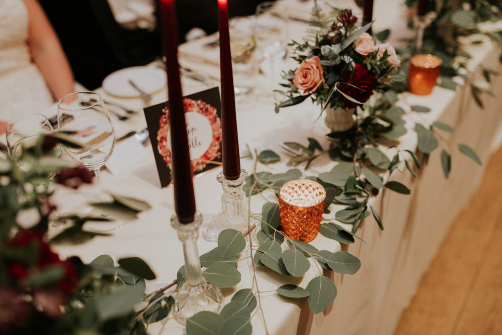 Burgundy Candle Glass Candlesticks Eucalyptus Top Table Gaynes Park Wedding Kate Gray Photography