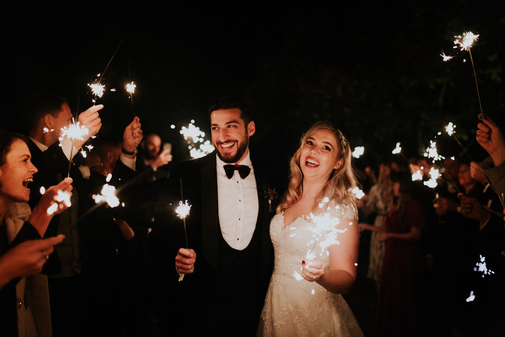 Bride Bridal Cap Sleeve Lace Overlay Dress Gown Velvet Tuxedo Burgundy Bow Tie Groom Sparklers Gaynes Park Wedding Kate Gray Photography