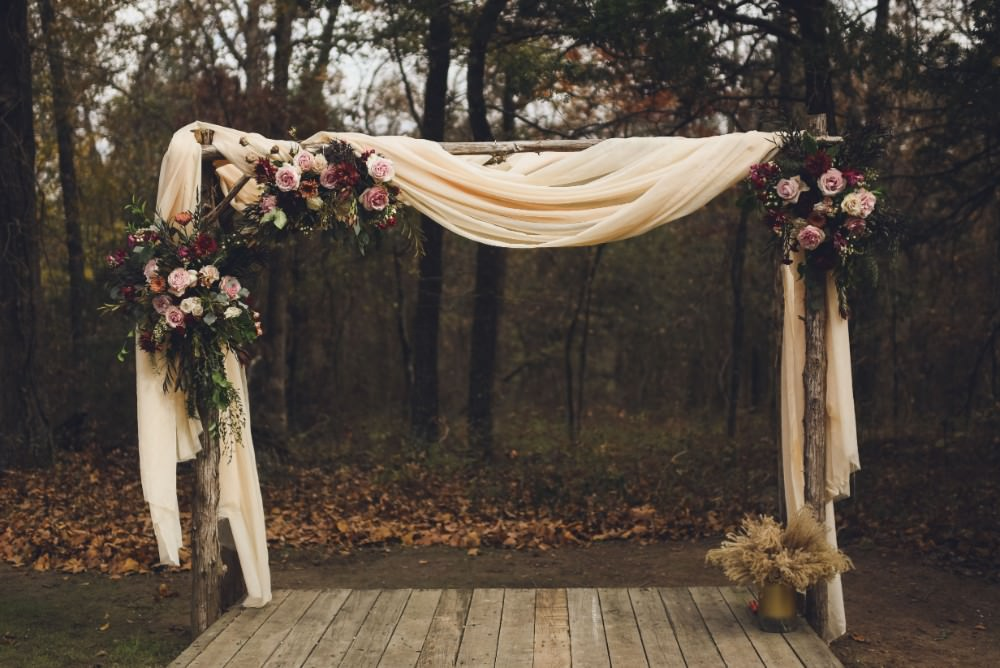 Flower Arch Backdrop Drapes Fabric Ceremony Aisle Kindred Barn Wedding The Kindred Collective