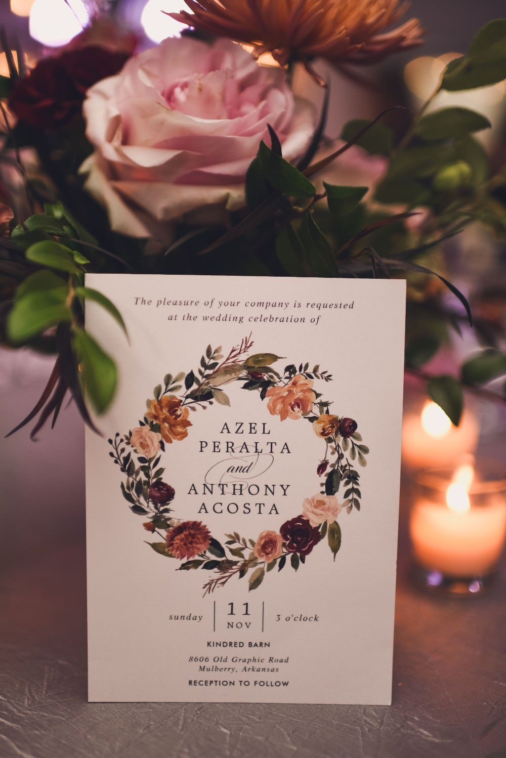 Floral Wreath Stationery Invite Invitation Kindred Barn Wedding The Kindred Collective