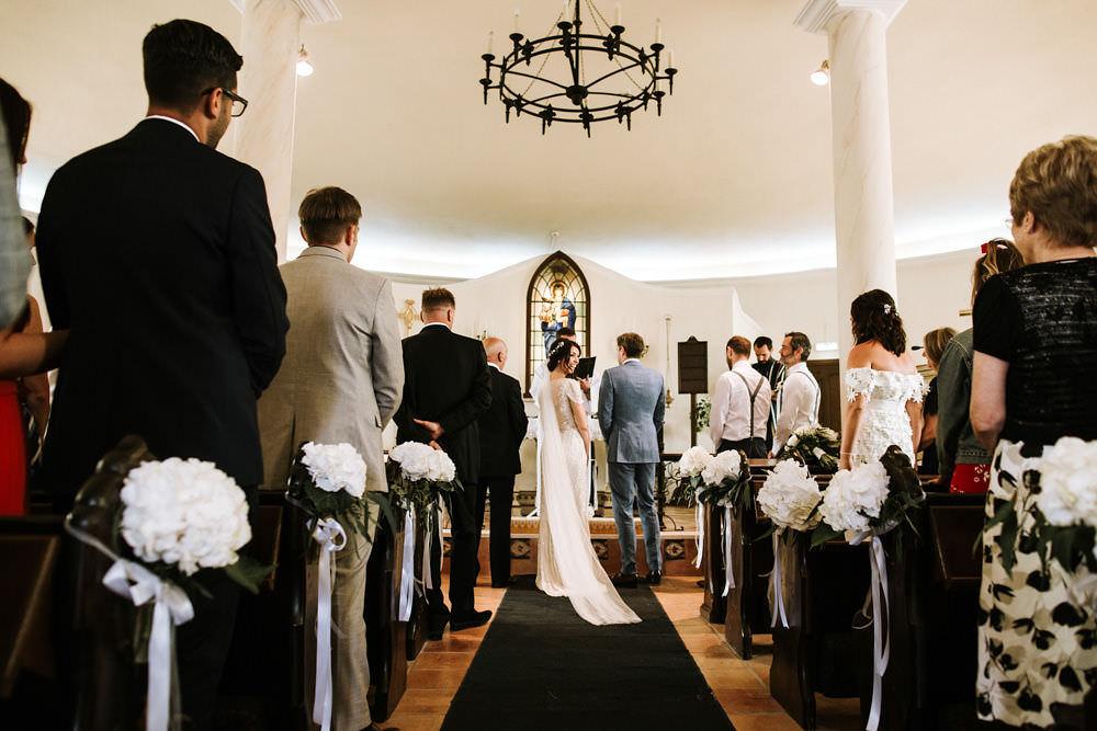 Bride Bridal Jenny Packham Beaded Short Sleeve Dress Gown Blue Suit Groom Hairpiece Veil Pew End Hydrangea Portugal Destination Wedding Ana Parker Photography