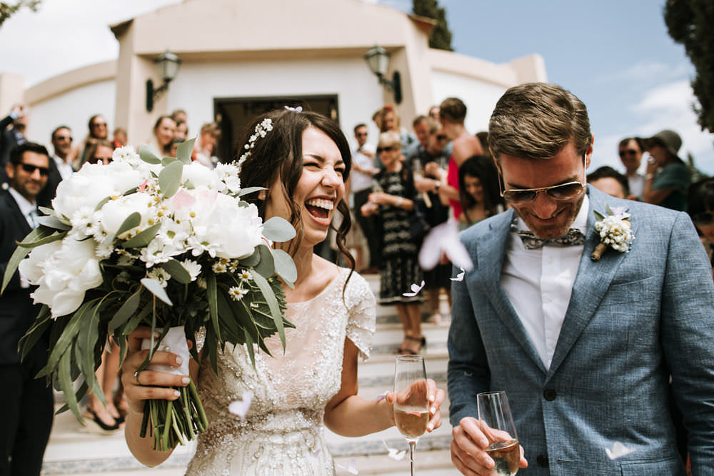 Bride Bridal Jenny Packham Beaded Short Sleeve Dress Gown Blue Suit Groom Hairpiece Veil Bouquet Portugal Destination Wedding Ana Parker Photography