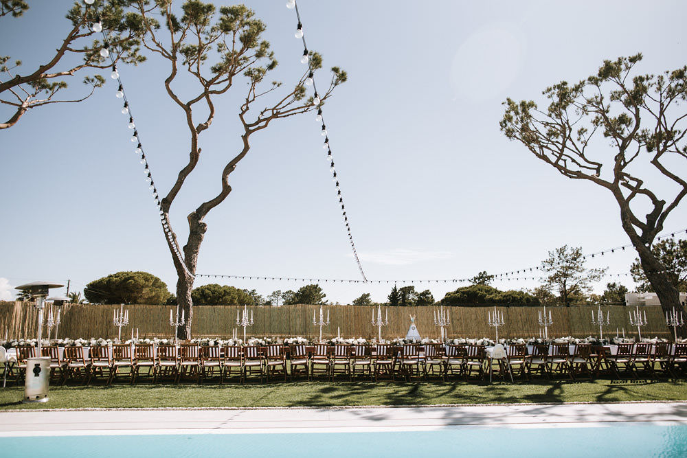 Outdoor Dining Feasting Table Poolside Portugal Destination Wedding Ana Parker Photography
