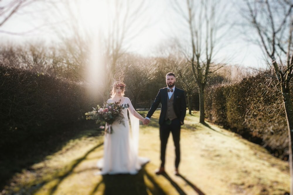 Bride Bridal Dress Gown Train Strapless Tulle Cape Romantic Wedding Ideas Neon Lighting Kate McCarthy Photography