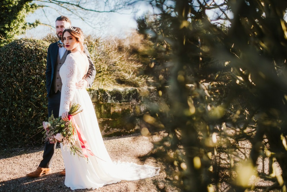 Bride Bridal Dress Gown Lace Sleeves Romantic Wedding Ideas Neon Lighting Kate McCarthy Photography