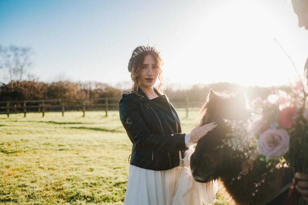 Leather Jacket Bride Bridal Painted Personalised Romantic Wedding Ideas Neon Lighting Kate McCarthy Photography