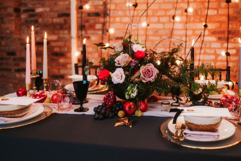 Tablescape Table Decor Flowers Centrepiece Candles Tablewear Romantic Wedding Ideas Neon Lighting Kate McCarthy Photography