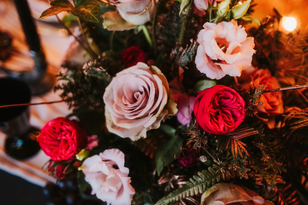 Table Centrepiece Flowers Rose Pink Red Romantic Wedding Ideas Neon Lighting Kate McCarthy Photography