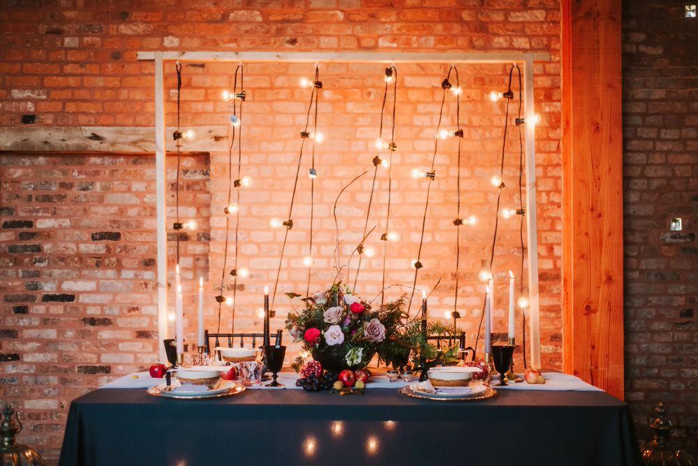 Festoon Lights Lighting Backdrop Top Table Romantic Wedding Ideas Neon Lighting Kate McCarthy Photography