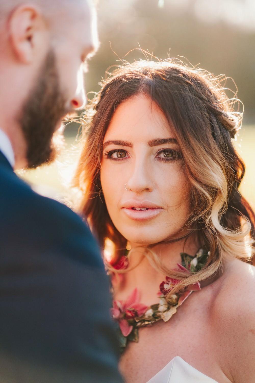 Bride Bridal Make Up Hair Waves Loose Long Romantic Wedding Ideas Neon Lighting Kate McCarthy Photography