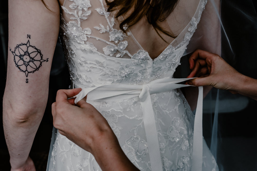Dress Gown Bride Bridal Lace Bow Back Rustic Barn Wedding Louise Griffin Photography