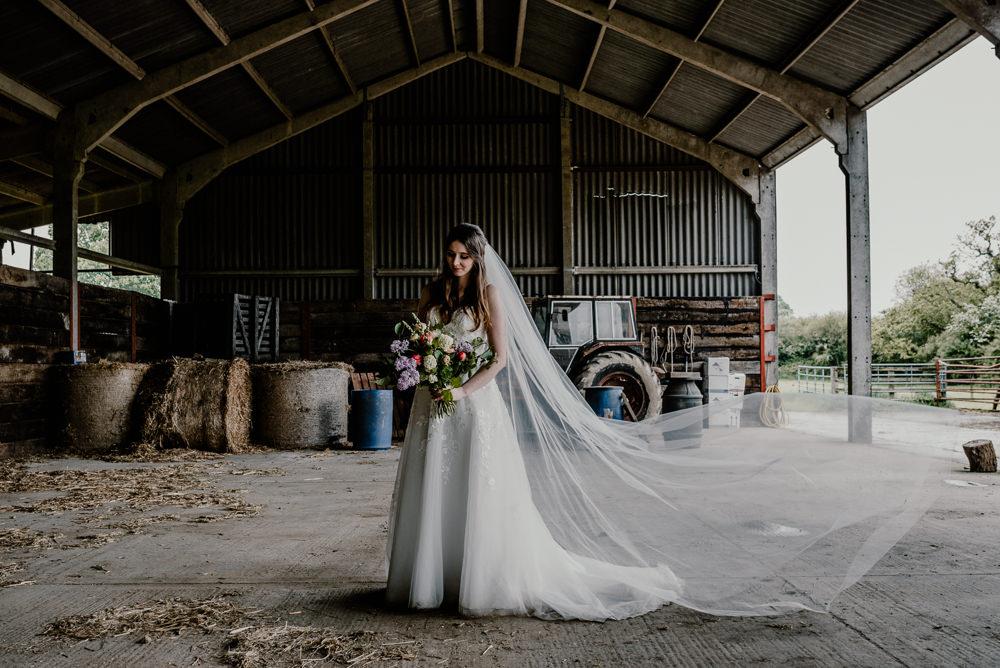 Bride Bridal Dress Gown Ellis Bridals Lace Tulle Train Veil Rustic Barn Wedding Louise Griffin Photography