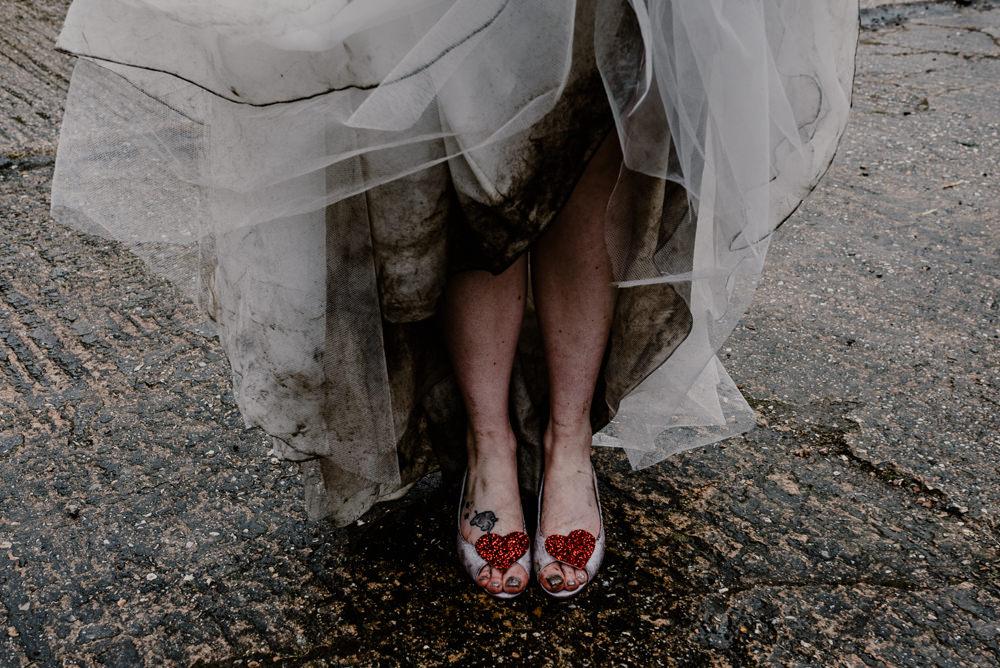 Bride Bridal Dress Gown Ellis Bridals Lace Tulle Train Veil Heart Shoes Rustic Barn Wedding Louise Griffin Photography