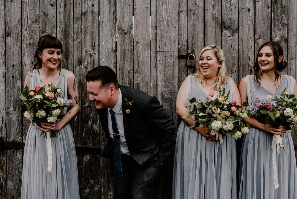 Bridesman Bridesmaid Bridesmaids Dress Dresses Long Maxi Grey Rustic Barn Wedding Louise Griffin Photography