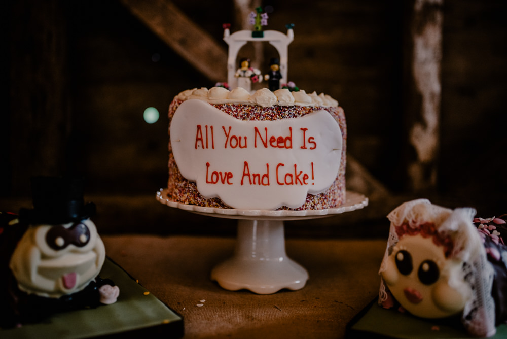 Cake Hundreds & Thousands Sprinkles Rustic Barn Wedding Louise Griffin Photography