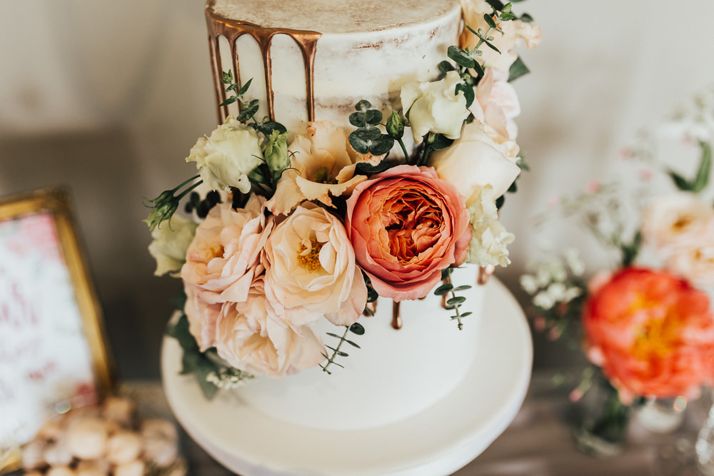 Cake Floral Drip Rose Gold Coral Stubton Hall Wedding Darina Stoda Photography