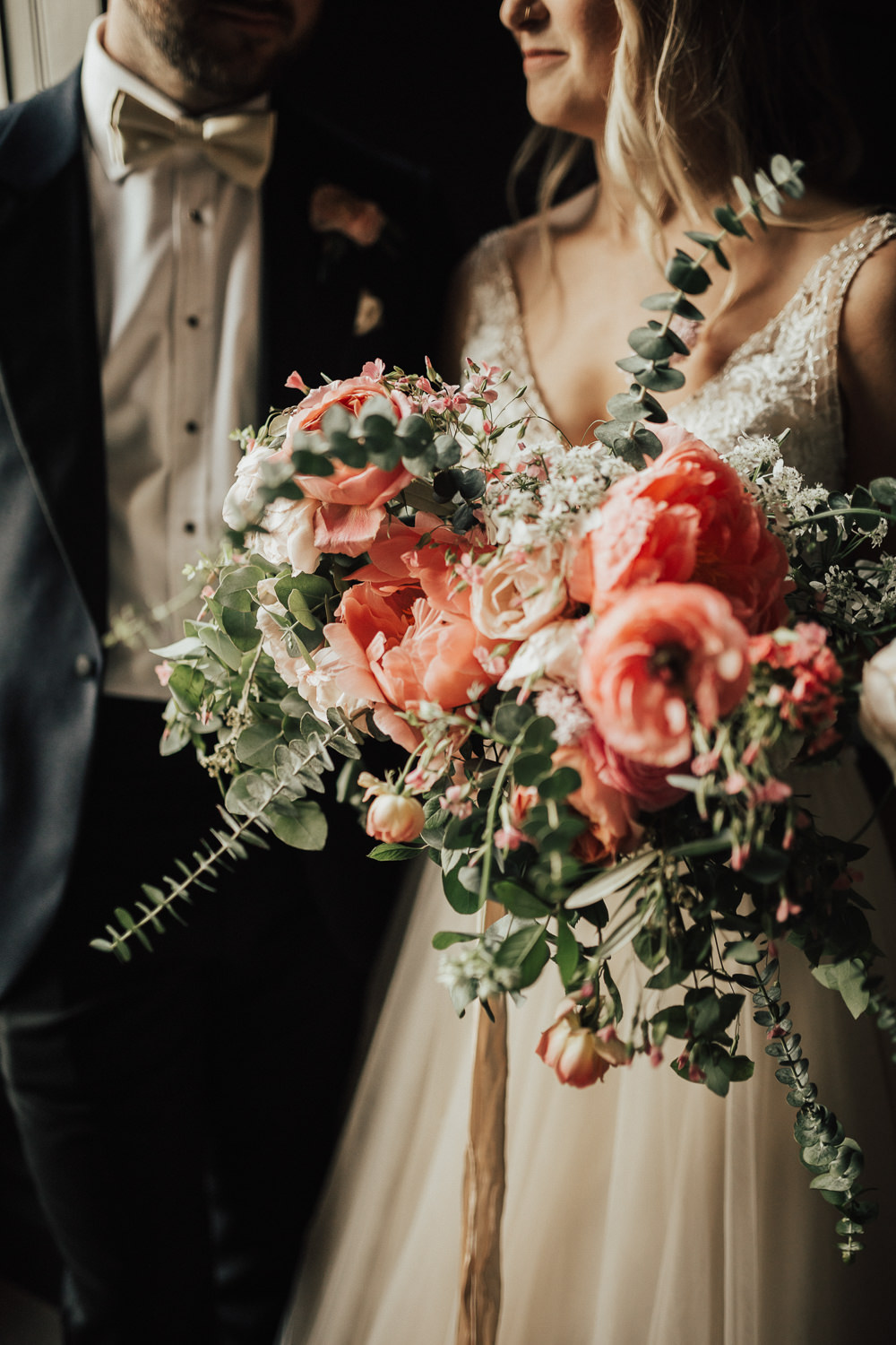Bride Bridal Bouquet Flowers Coral Peony Peonies Rose Pink Ranunculus Eucalyptus Ribbon Stubton Hall Wedding Darina Stoda Photography