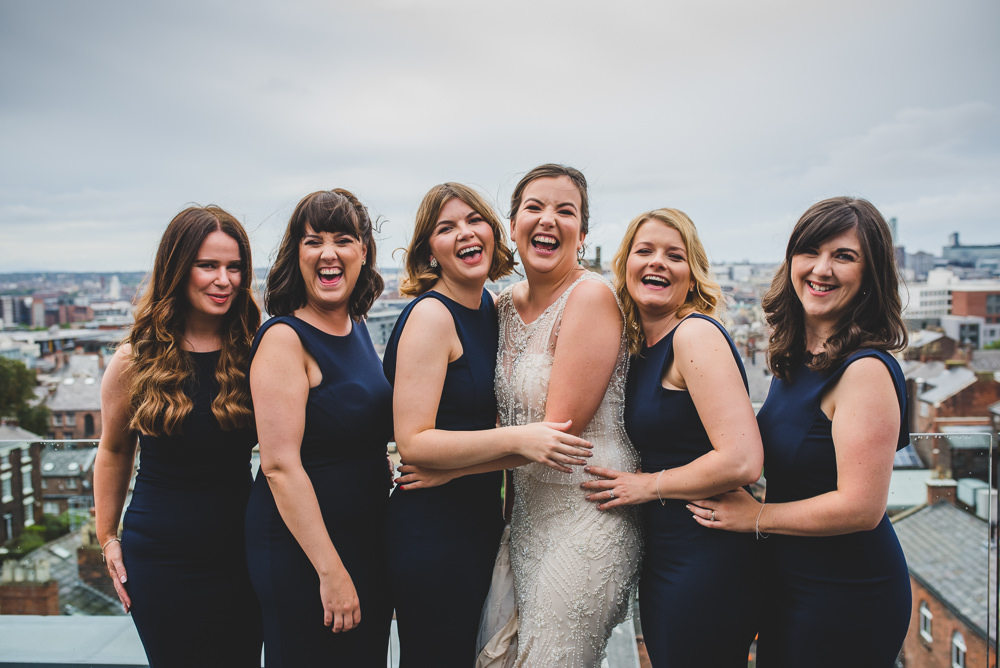Bride Bridal Beaded Embellished Dress Navy Blue Bridesmaids Victoria Gallery Museum Wedding Emma Hillier Photography