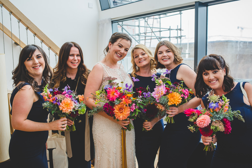 Bride Bridal Beaded Embellished Dress Navy Blue Bridesmaids Multicoloured Bouquet Victoria Gallery Museum Wedding Emma Hillier Photography