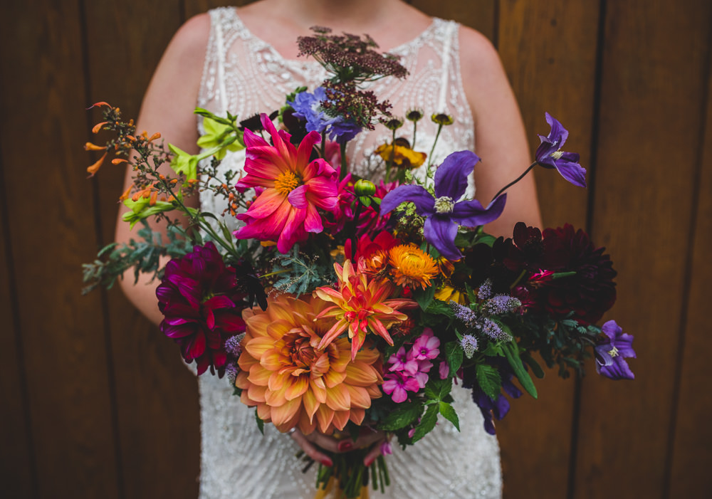 Multicoloured Dahlia Wildflower Bouquet Bride Bridal Victoria Gallery Museum Wedding Emma Hillier Photography