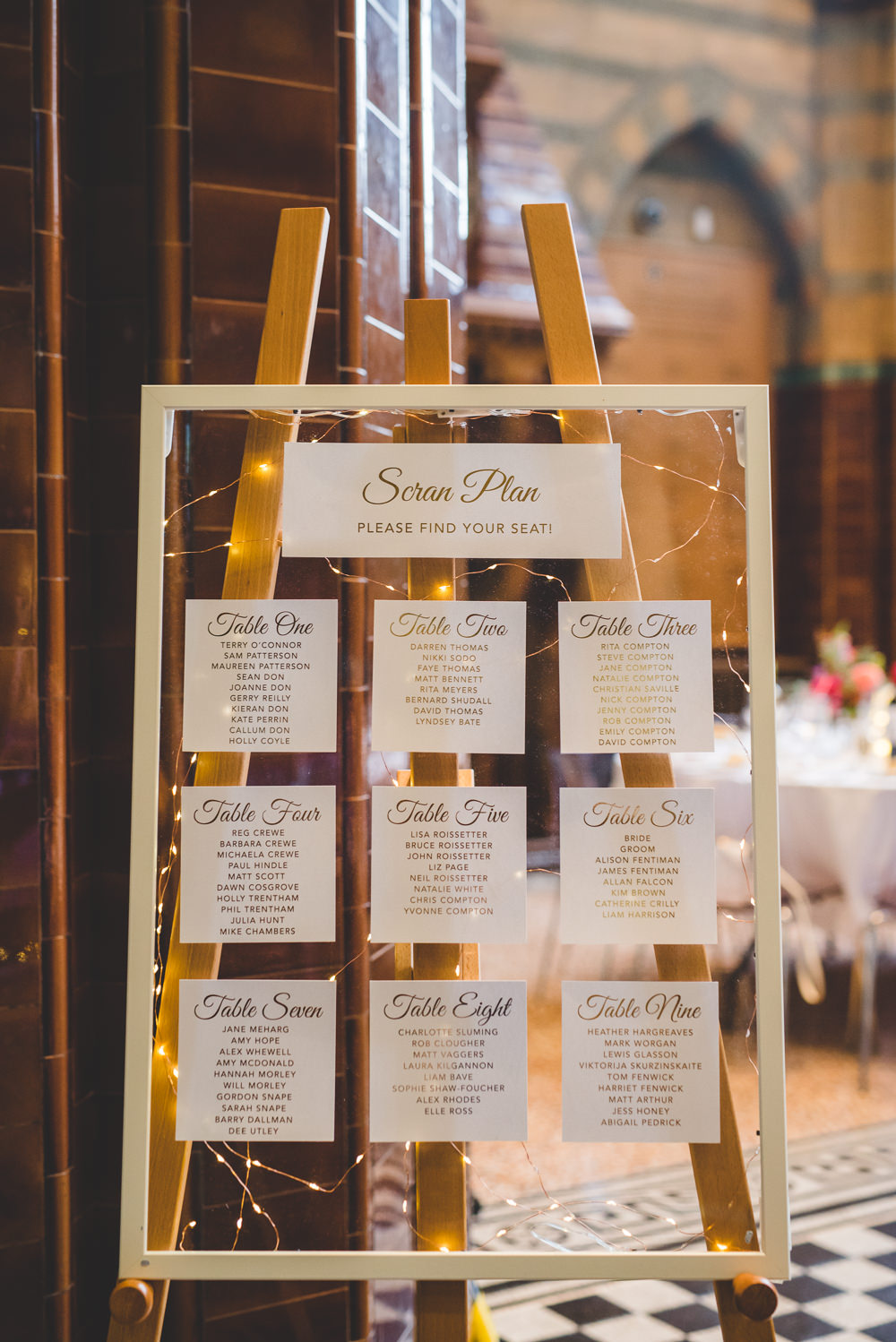 Table Plan Seating Chart Easel Fairy Lights Victoria Gallery Museum Wedding Emma Hillier Photography