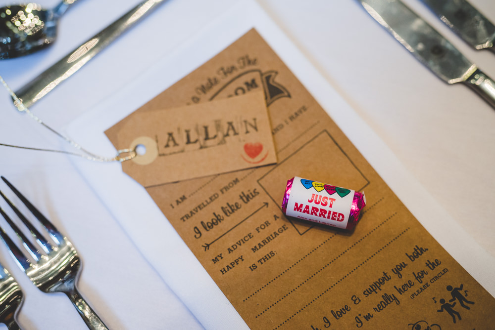 Lovehearts Luggage Tag Place Card Advice Card Victoria Gallery Museum Wedding Emma Hillier Photography