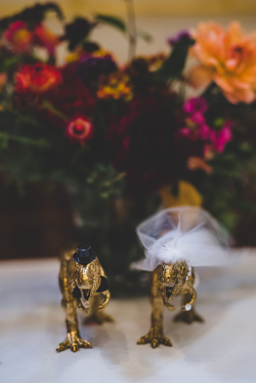 Bride Groom Dinosaurs Gold Figurines Victoria Gallery Museum Wedding Emma Hillier Photography