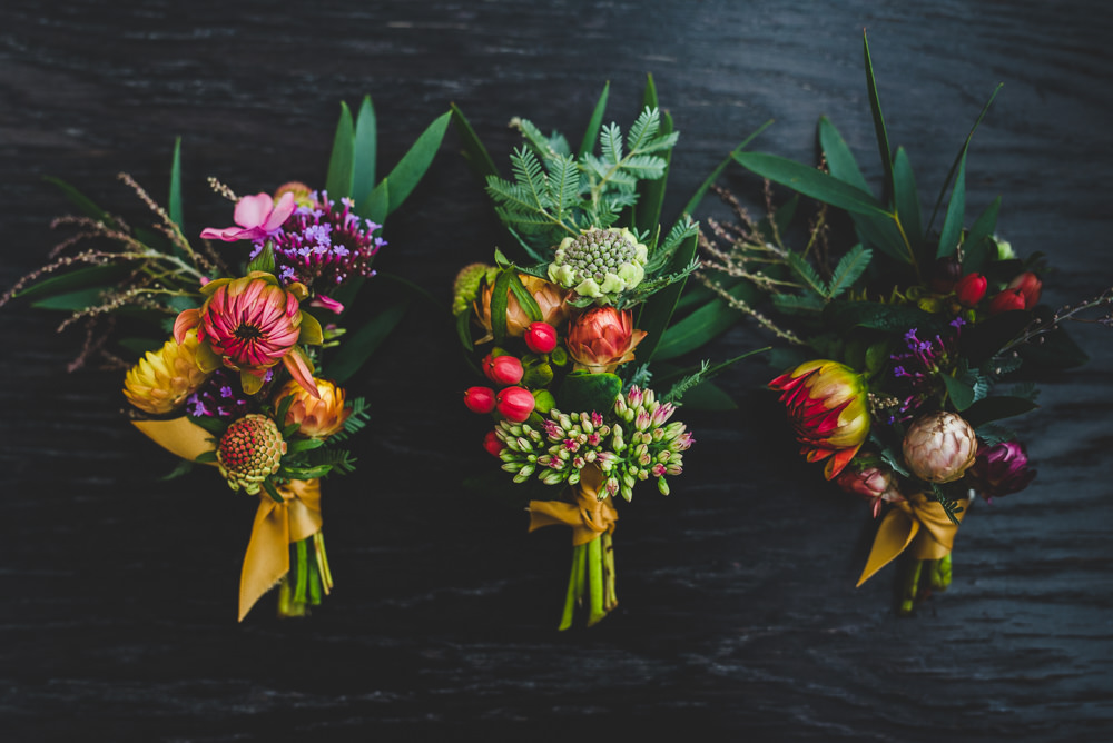 Multicoloured Flower Berry Buttonhole Victoria Gallery Museum Wedding Emma Hillier Photography