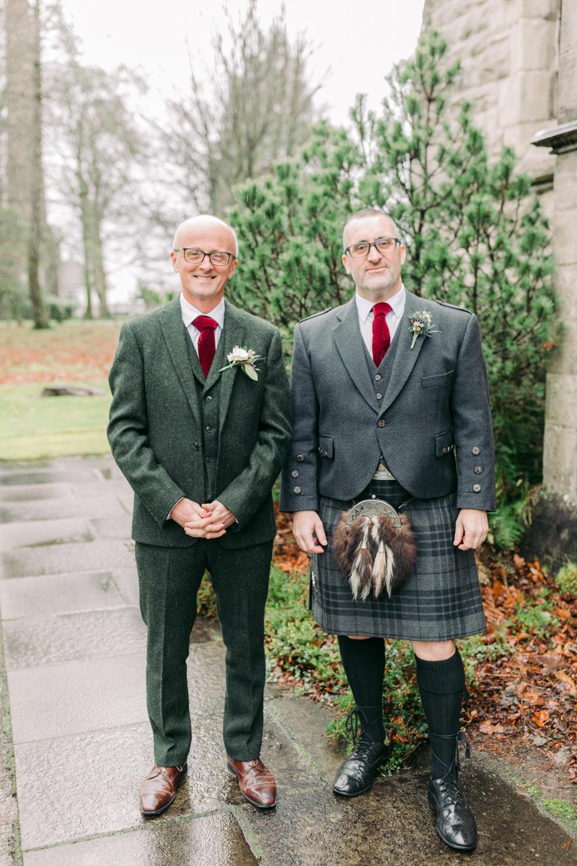 Groom Groomsmen Suit Green Tweed Kilt Red Velvet Tie Autumn Village Hall Wedding The Gibsons Photography