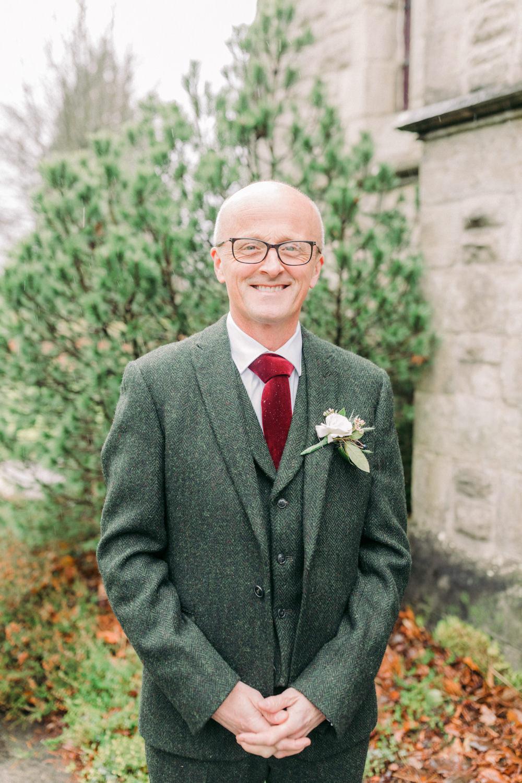 Groom Groomsmen Suit Green Tweed Red Velvet Tie Autumn Village Hall Wedding The Gibsons Photography