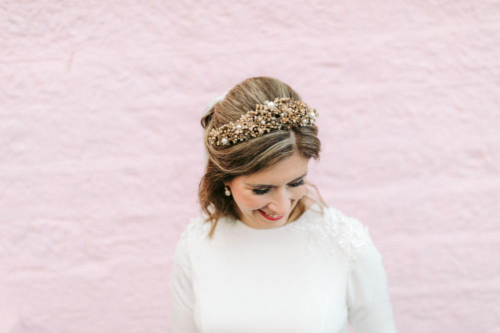 Bride Bridal Hair Short Tiara Crown Autumn Village Hall Wedding The Gibsons Photography