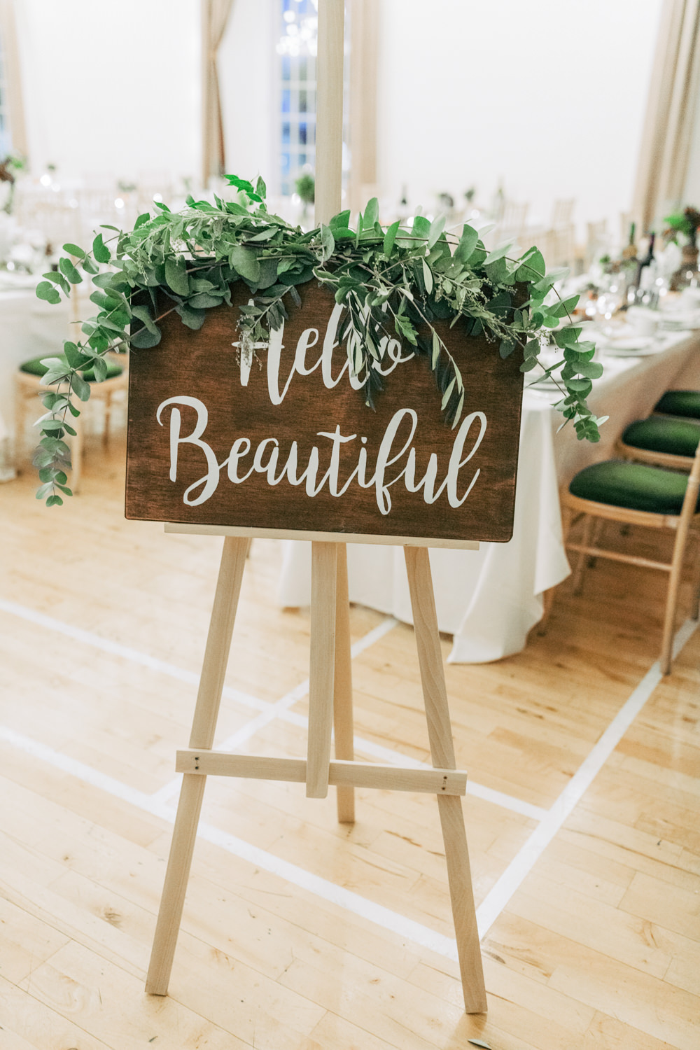 Wooden Welcome Sign Calligraphy Signs Signage Greenery Foliage Autumn Village Hall Wedding The Gibsons Photography
