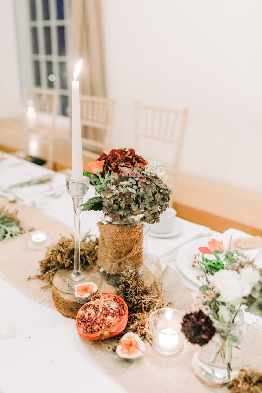 Table Decor Decoration Flowers Centrepiece Log Moss Greenery Hessian Burlap Autumn Village Hall Wedding The Gibsons Photography