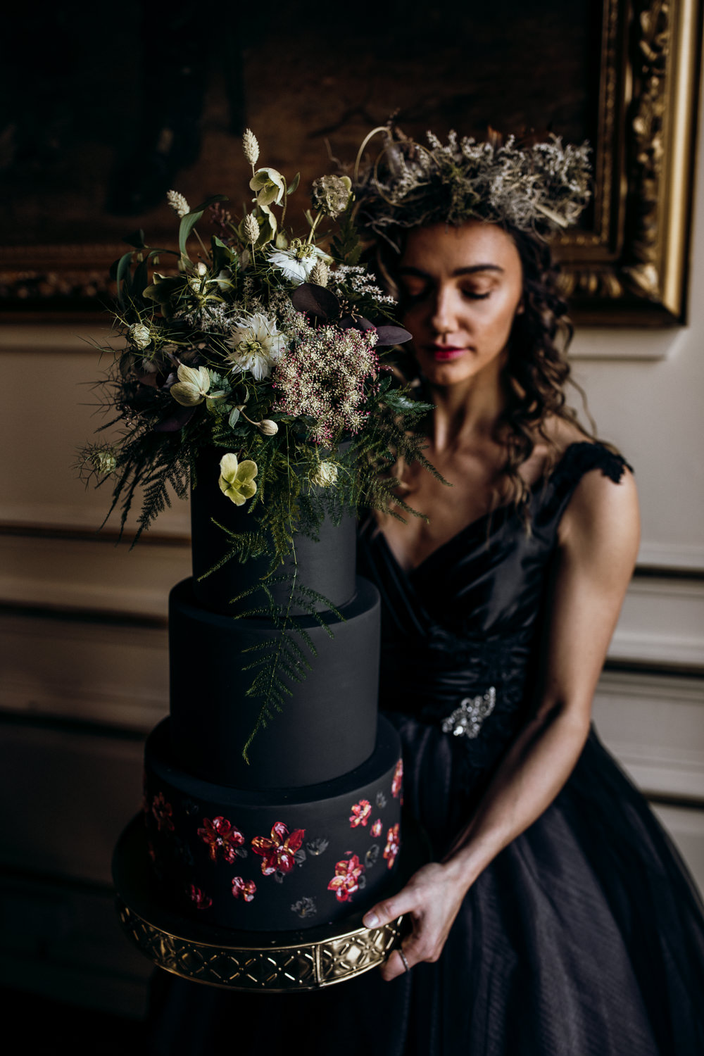 Tall Cake Black Pink Gold Flowers Floral Harry Potter Wedding Ideas Thyme Lane Photography