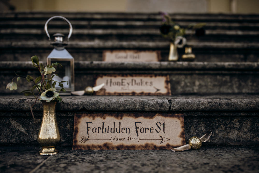 Signs Signage Signpost Harry Potter Wedding Ideas Thyme Lane Photography