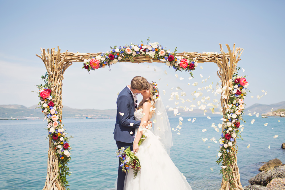 Arch Ceremony Aisle Backdrop Wooden Branches Flowers Kefalonia Wedding Cotton Candy Weddings